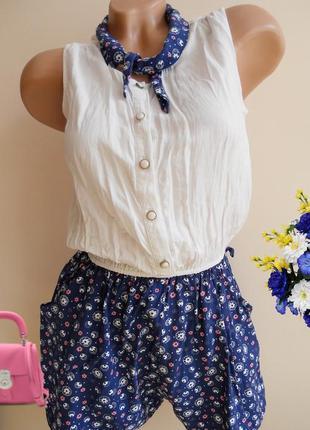 Ромпер комбінезон синій білий в квіточки