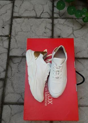 Кожаные кроссовки криперы белоснежные золото подошва танкетка