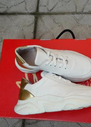 Кожаные кроссовки криперы белоснежные золото подошва танкетка5 фото