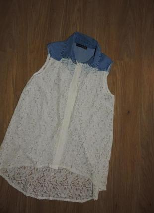 Стильная блузка atmosphere блуза сорочка рубашка джинсовая ажурная