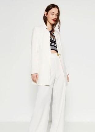 Zara белый пиджак, блайзер, жакет m-l