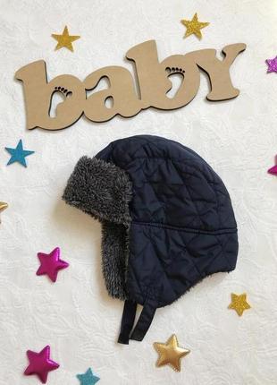 Стильная теплая шапка с ушками mothercare, меховушка