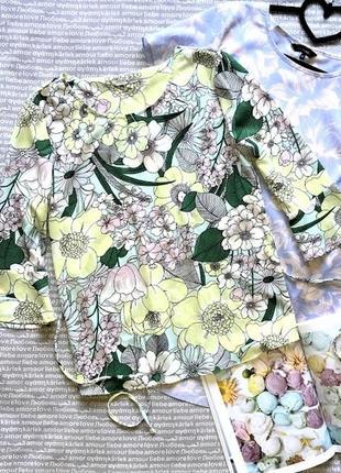 Блузка кофта с оборками рубашка в цветок купить цена