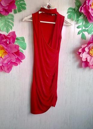Шикарное летнее вечернее выпускное платье короткое красное