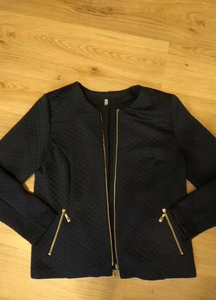 Пиджак укороченный стенаный синий
