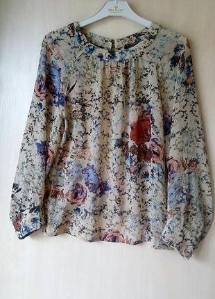 🍀лёгкая шифоновая блуза в цветы с вырезом на спине top shop