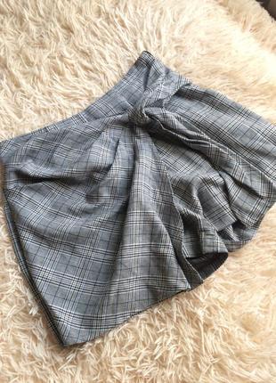 Клетчатая юбка-шорты
