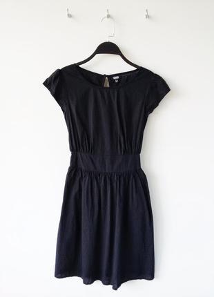 Черное платье коттон миди