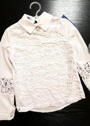 Нарядная школьная блуза с макраме