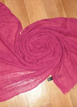Большой теплый шерстяной палантин шаль шарф 15% шелк marks & spencer /195*77 см