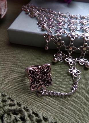 Шикарный слейв - браслет, индийский браслет, бохо браслет, браслет с кольцом