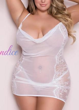 Белое эротическое белье большого размера, пеньюар,ночнушка, прозрачный, кружевной