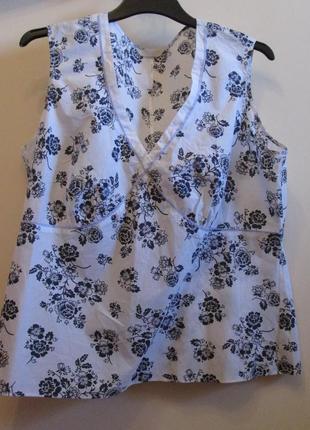 Распродажа легкая невесомая блуза marks&spenser котон цветы размер 18