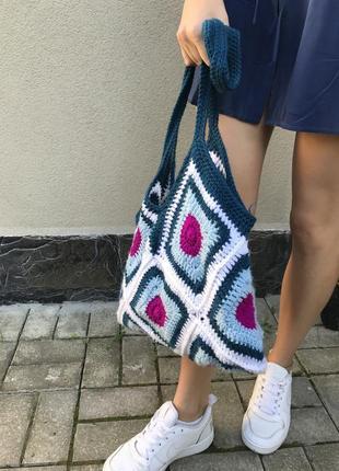 Вязанная,ажурная сумка,торба,авоська ручной работы,этно,бохо стиль