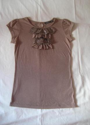 Блуза футболочного типа   с кружевным жабо