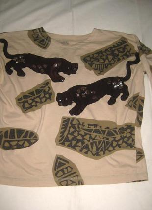 Реглан с вышитыми паетками и стразами черными пантерами, звериный принт