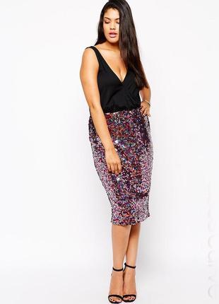 Эксклюзивное платье миди asos с юбкой в пайетках, размер 44(16) - 48(18)