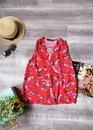 Яркий летний топ блуза на запах цветочный принт