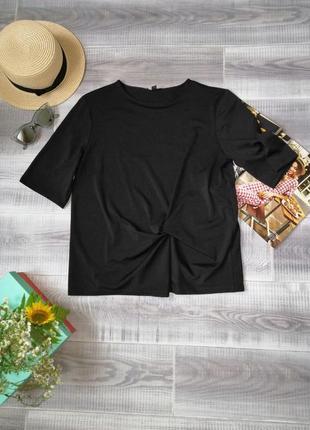 Чёрный топ футболка с узелком для беременной