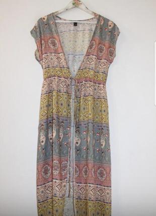 Пляжная туника накидка парео платье на завязке