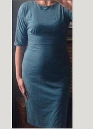 Замшевое платье миди