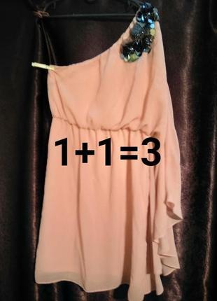 Очень красивое платье на одно плечо. размер 10-12