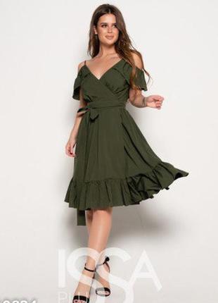 Сукня на запах з воланами хакі