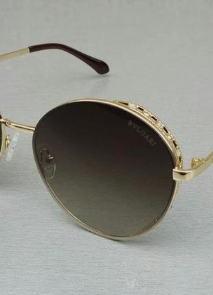 Bvlgari очки женские солнцезащитные круглые коричневые