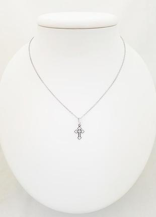 Серебряный крестик 925 проба покрытый родием