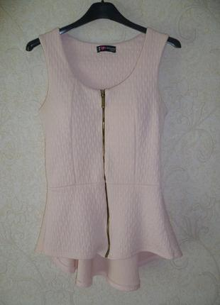 Блуза, блуза с баской, блузка с замочком, короткий рукав i nazarro girl