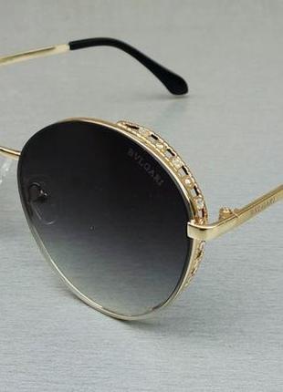 Bvlgari очки женские круглые солнцезащитные серые