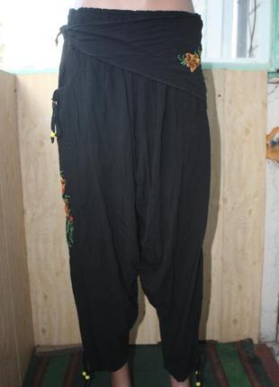 Индийские штаны алладины афгани с красивой  цветочной вышивкой