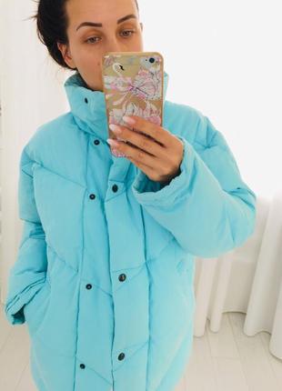 Oбъемный мятный пуффер зимнее пальто одеяло пуховик натуральный пух