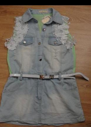 Джинсова сукня на дівчинку з поясом