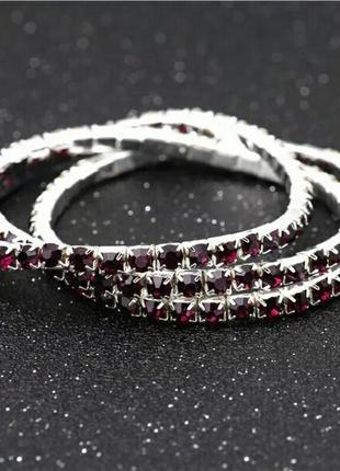 Изящный браслет со стразами кристаллами сваровски темно-гранатовый 3.6 мм ширина