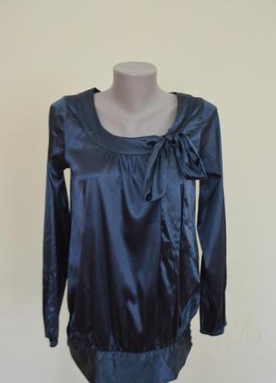 Очень красивая брендовая атласная блузочка цвета морской волны