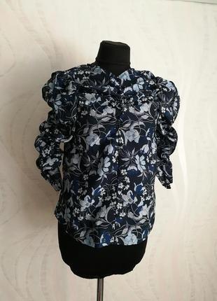 Трендовая блуза из органзы,рукава буфы,фонарики