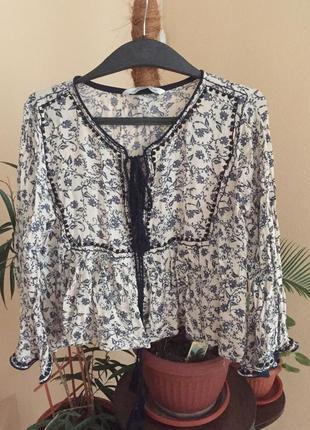 Блузка-вышиванка от zara premium denim collection