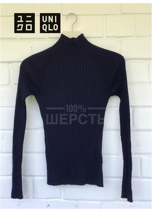 100% шерсть! шерстяной гольф водолазка свитер в рубчик от uniqlo размер xs/6/34.