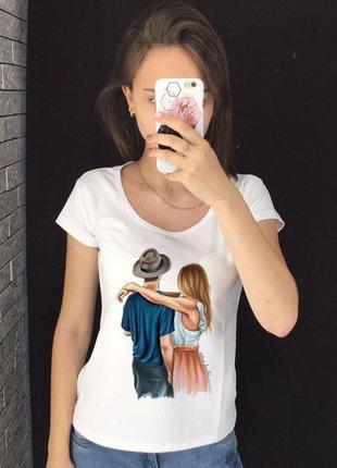 Женская футболка с принтом - пара, девушка с парнем, футболка с рисунком