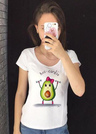 Женская футболка с принтом - авокадо, спорт, футболка с рисунком