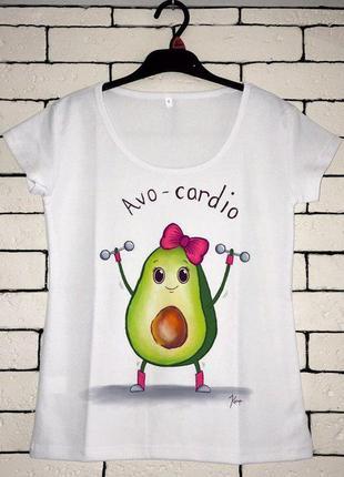 Женская футболка с принтом - авокадо, спорт, футболка с рисунком2 фото