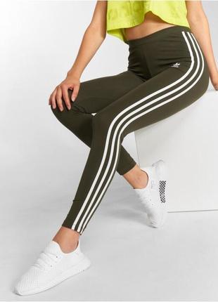 Лосины adidas originals stripes tights цвета хаки