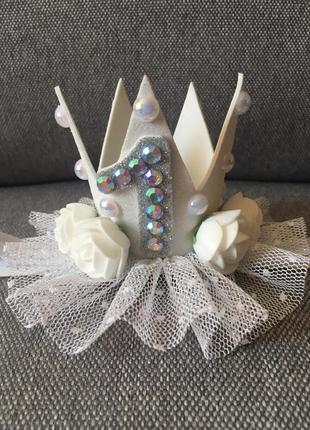 Праздничная повязка с короной на 1годик