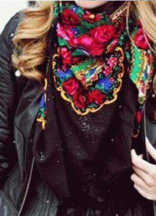 Тренд шикарная павлопосадская хустка,  бабушкин платок, большой с цветами, винтаж