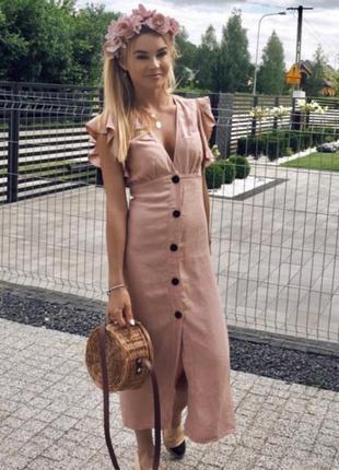 Шикарное платье со льном zara