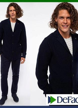Вязаный мужской пиджак de facto / де факто шерстяной, на пуговицах, с карманами