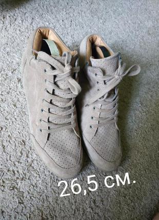 Кроссовки ботинки натуральные замшевые сникерсы на широкую полную ногу платформе танкетке