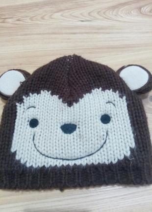 Вязанная шапка обезьяна двойной вязки george с ушками