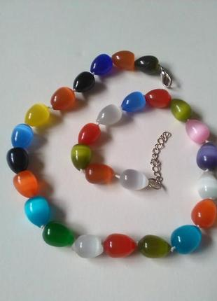 Крупные ожерелье бусы кошачий глаз разноцветные, натуральный камень